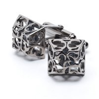Dark Silver Boxed Leaf Cufflinks
