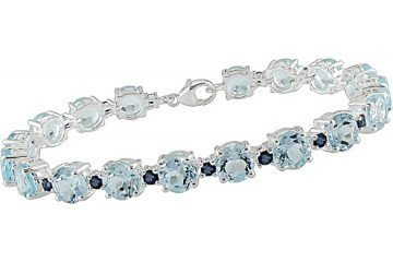 31 Carat Blue Topaz and Sapphire Sterling Silver Bracelet