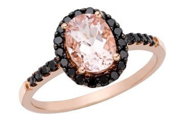 1 1 2 CARAT MORGANITE AND BLACK DIAMOND 14K PINK GOLD RING