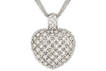 1 Carat Diamond Heart Sterling Silver Pendant w Three Strand Chain