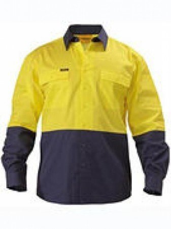 BISLEY SAFETY WEAR 2 TONE HI VIS LIGHTWEIGHT SHIRT YELLOW
