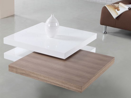 Torino Rotatable Coffee Table White Gloss Walnut